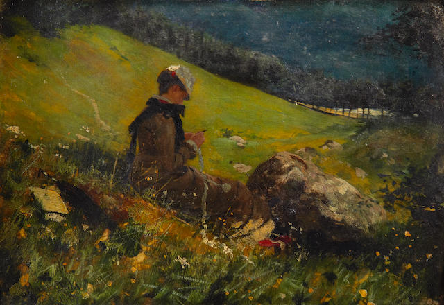 Hans Dahl (Norwegian, 1849-1937) Girl in a field knitting