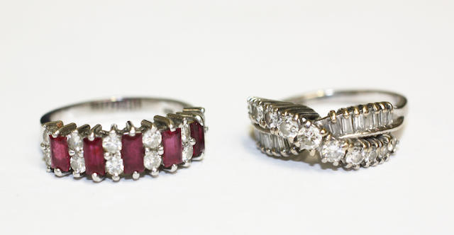 Two diamond set band rings (2)