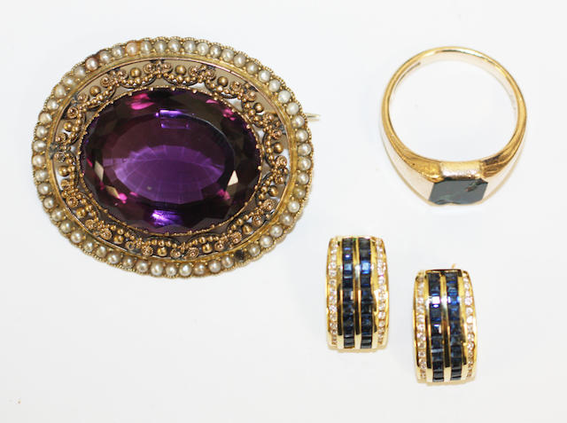 An Edwardian amethyst and seed pearl brooch and other items, (3)