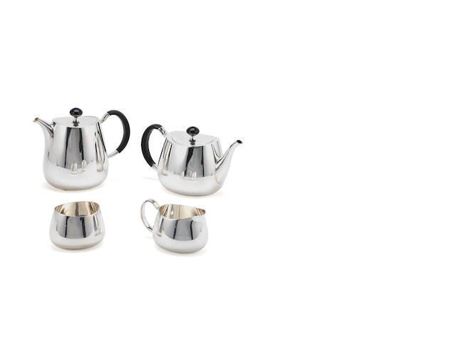 DESIGNED BY DAVID MELLOR: A silver Pride pattern four-piece tea service, makers mark for Walker & Hall, Sheffield, pots 1959 cream and sugar 1960, the with incuse pattern number 53718, also 25,  (4)