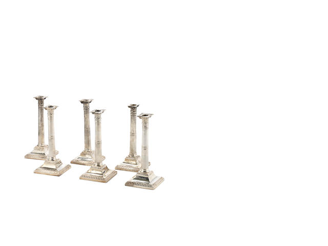 A set of six George III silver candlesticks by John Parsons & Co, Sheffield 1792,