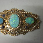 A large rectangular shaped opal doublet brooch,