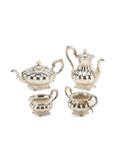 A William IV style   four-piece silver tea service, by Barker Ellis Silver Co,  Birmingham 1968-69,   (4)