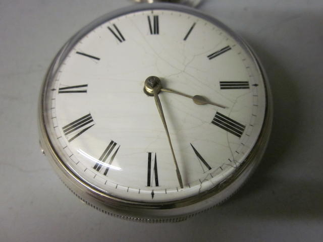 A silver open faced key wound pocket watch,