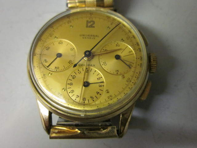 A gentleman's Universal Compax gold plated bracelet watch,