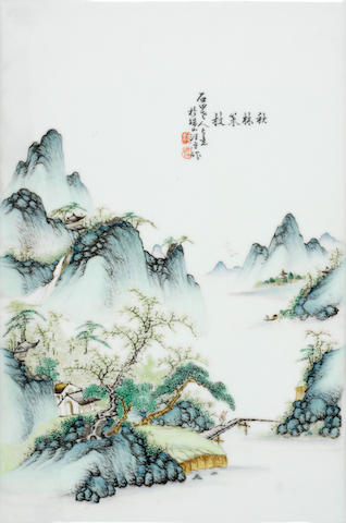 An enamelled rectangular plaque Republic Period, signed and sealed Wang Yeting