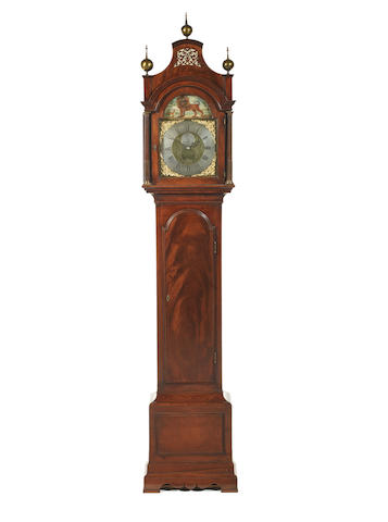 A fine and rare third quarter of the 18th century mahogany longcase clock with automata in the arch James Upjohn, London