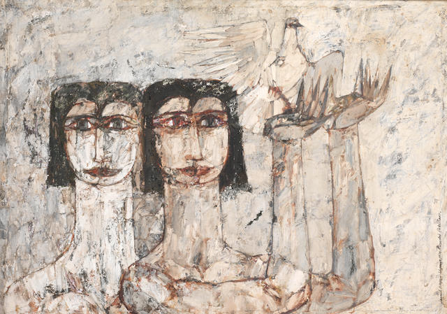 Jamil Naqsh (Pakistan, born 1938) Untitled (Two Women with Dove),