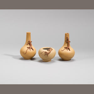A pair of Yixing stoneware vases and a small waterpot Qing dynasty