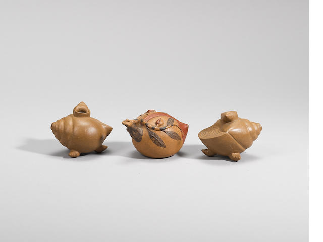 Three naturalistically modelled Yixing stoneware water droppers Late Qing/early Republican, signed Wen Ji