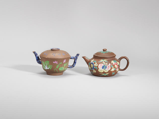 Two enamelled Yixing stoneware teapots and covers Qing dynasty