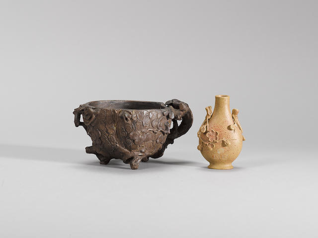 A small Yixing 'plum blossom' vase and a 'pine' cup Mid Qing dynasty