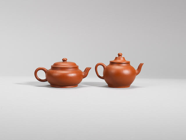 Two small Yixing stoneware teapots and covers Qing dynasty, signed Mingyuan