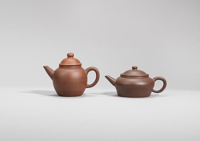 Two Yixing stoneware teapots and covers Qing dynasty