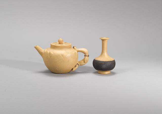 An Yixing 'lotus' teapot and cover and a small vase Qing dynasty