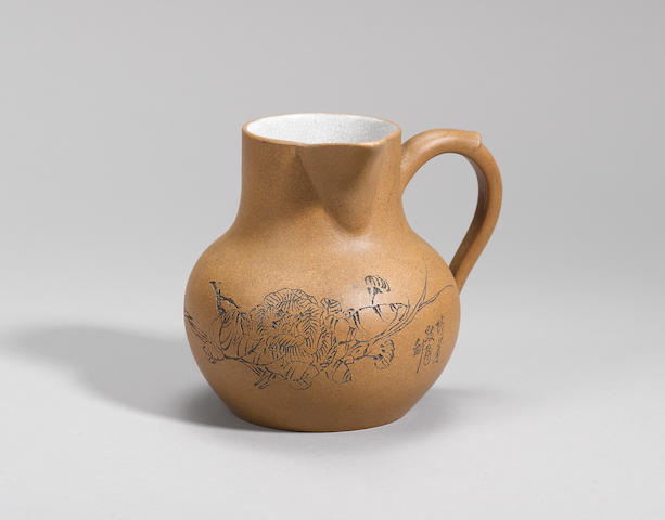 An Yixing stoneware incised tea jug Republican period,