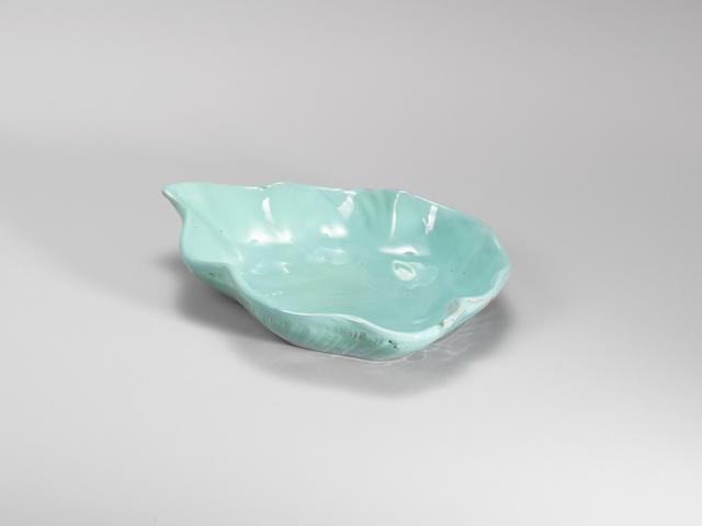 A large green-glazed Yijun stoneware dish Qing dynasty