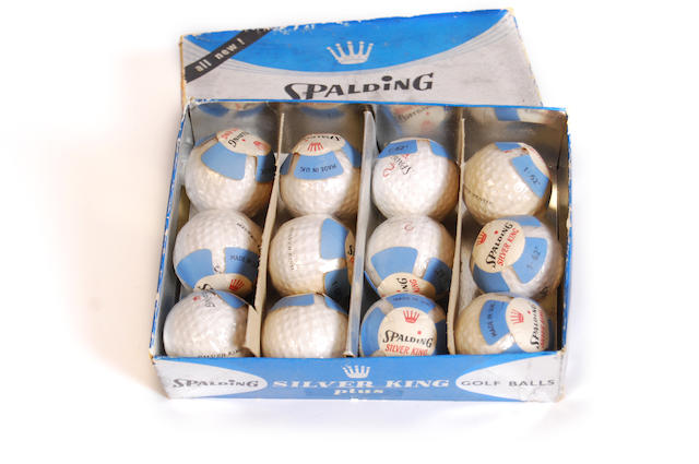 A Spalding 12 box of Silver King Plus golf balls circa 1950s