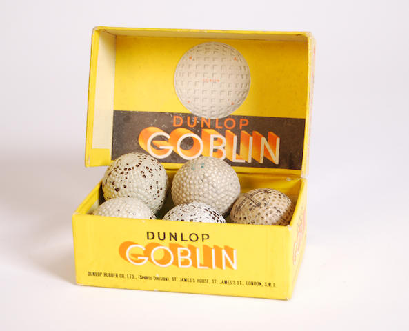 A grouping of five bramble patterned golf balls circa early 1900s