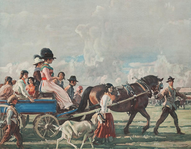 Sir Alfred James Munnings P.R.A., R.W.S. (British, 1878-1959) Gipsies Arriving on Epsom Downs for the Derby Week colour print, 41 x 53cm (16 1/8 x 20 7/8in) Lionel Dalhousie Robertson Edwards RI (British, 1878-1966) two signed artist proofs, one entitled The Blackmore Vale (3)