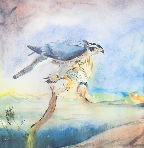 Sophie Knight (British, born 1965) A Goshawk with it's prey 51 x 49.5cm