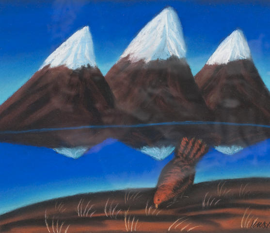 Jack Knox (Scottish, born 1936) Bird and mountains 31.5 x 36cm