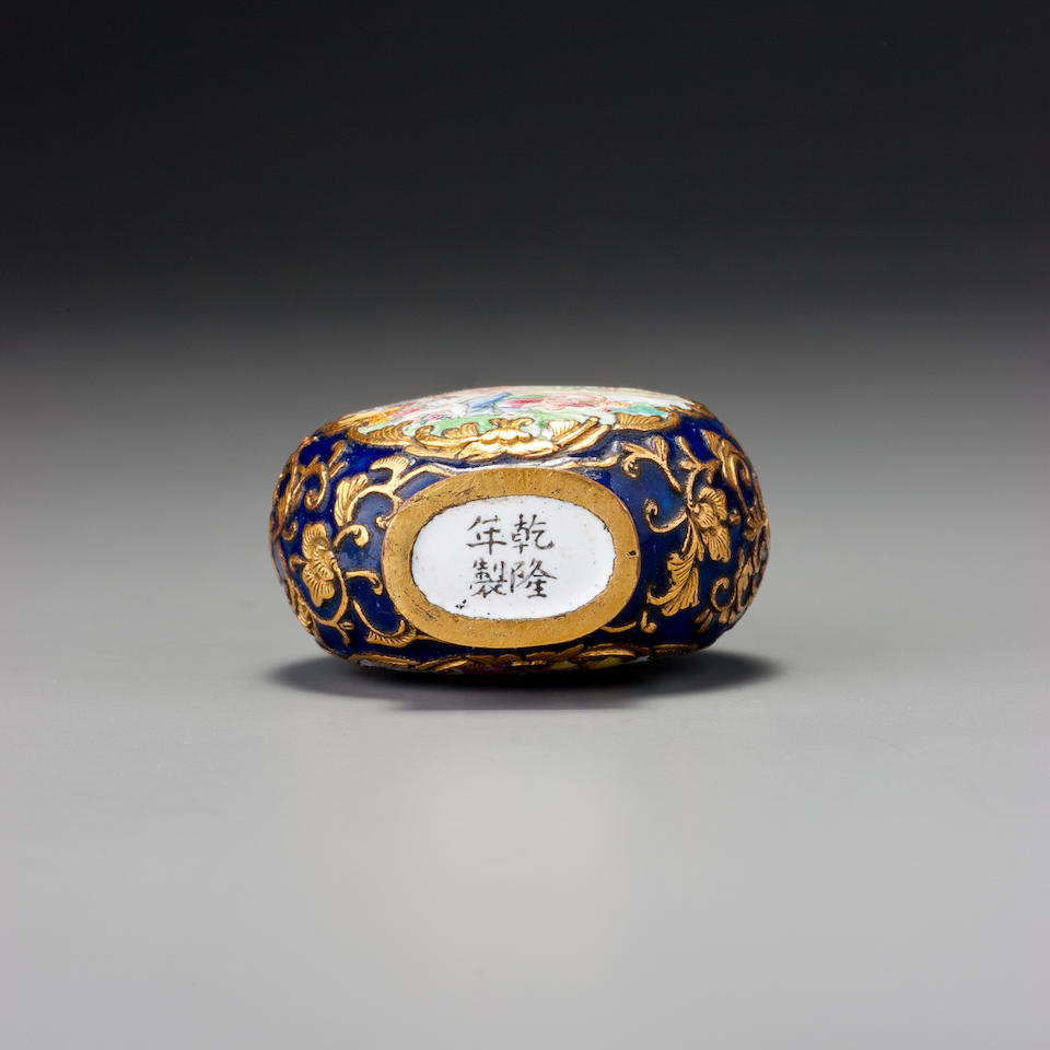 A 'famille-rose' enamel on copper with gold 'European figures' snuff bottle Imperial, Guangzhou, Qianlong black-enamelled four-character mark and of the period, 1736–1770