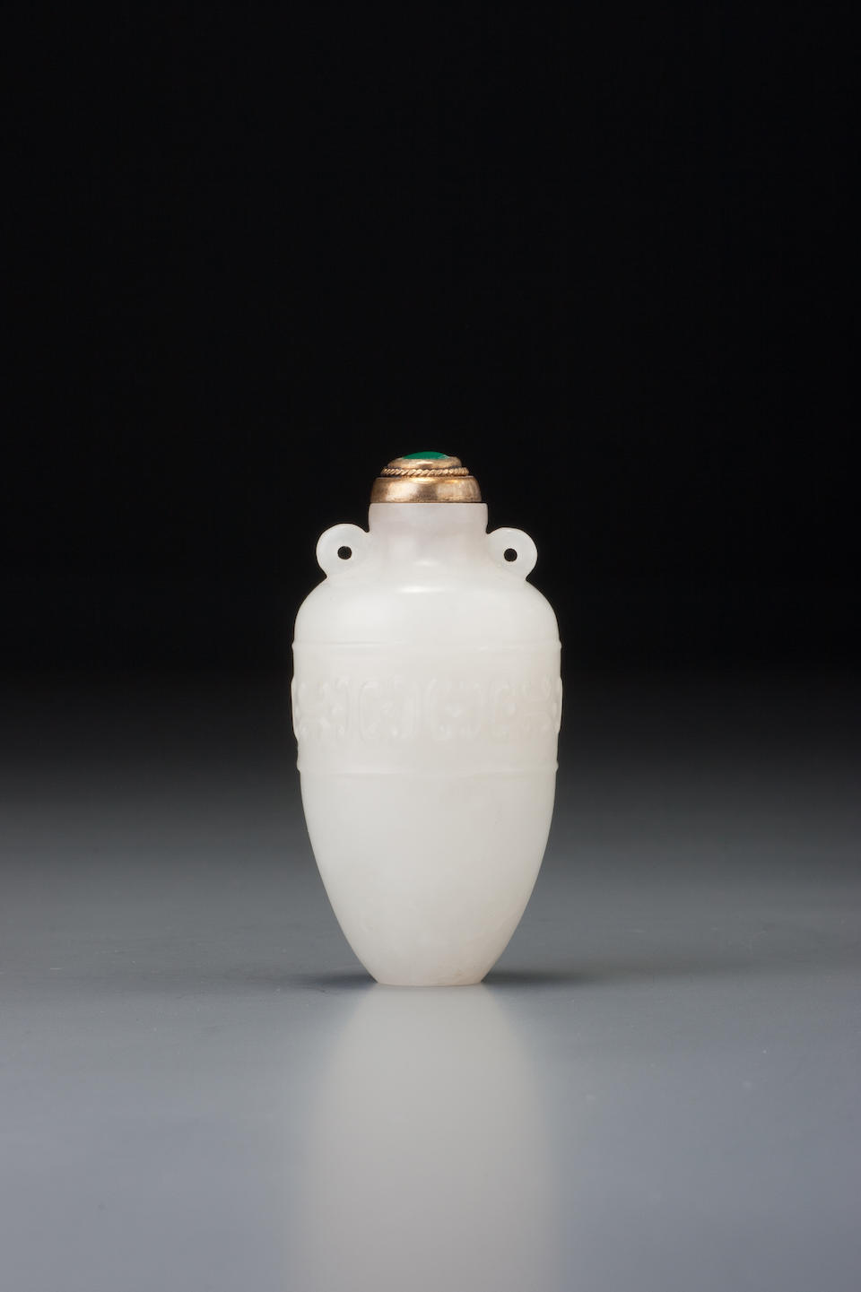 A white nephrite 'meiping' snuff bottle Probably Imperial, attributable to the palace workshops, Beijing, 1736–1800