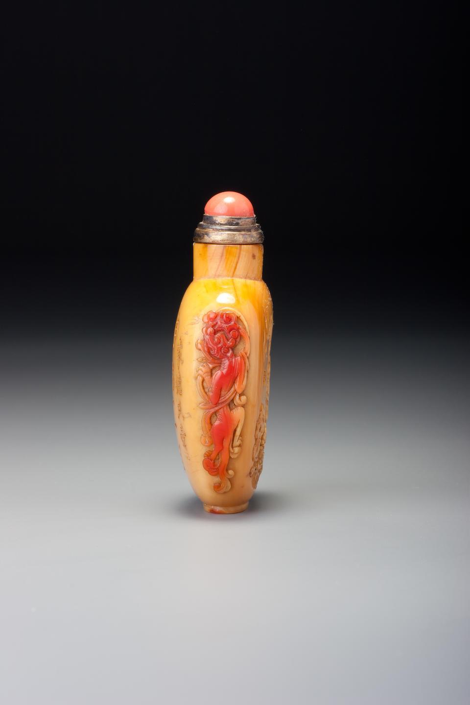 An inscribed hornbill 'Ma Gu' snuff bottle Wang Baishi, 1830–1850