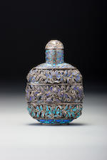 A feathers-on-silver snuff bottle Guangchang and Luen Wo, Shanghai, 1870–1912
