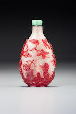 A ruby-red glass overlay 'hunting' snuff bottle 1740-1790