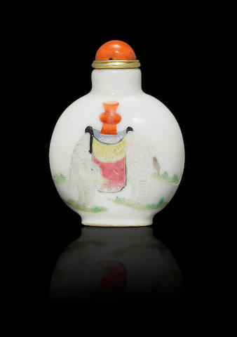 An enamelled porcelain 'elephant and vase' snuff bottle Daoguang four-character iron-red seal mark and of the period