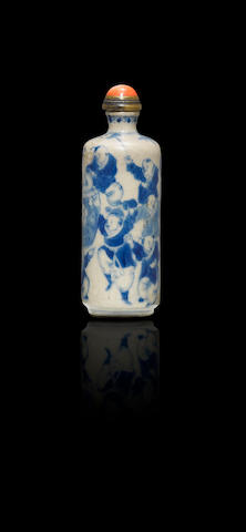 A blue and white porcelain 'boys' snuff bottle Qing dynasty