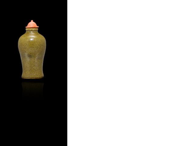 An eel-skin glazed porcelain 'meiping' snuff bottle 1820-1880