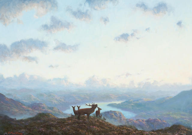 Ian MacGillivray (British, born 1964) Deer in Highland landscape
