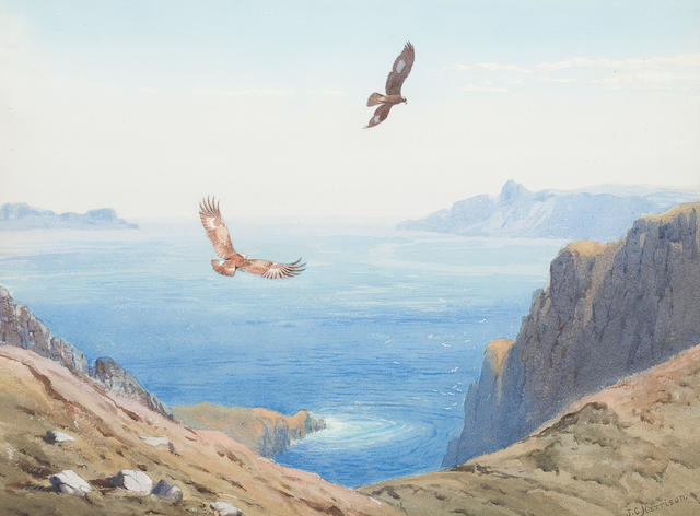 John Cyril Harrison (British, 1898-1985) Eagles soaring over cliffs