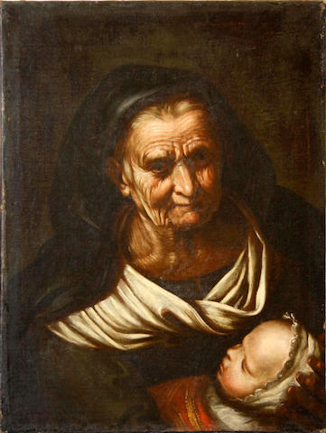 After Pietro Bellotti, 18th Century An old woman holding a baby  unframed