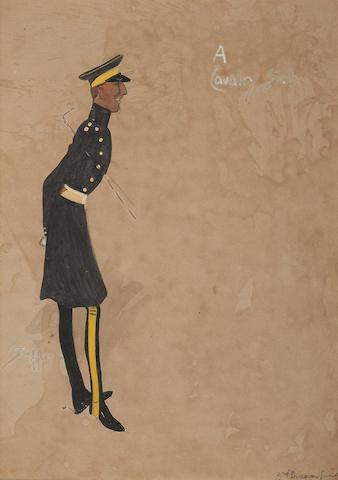 Charlie Johnson Payne, 'Snaffles' (British, 1884-1967) 'A Cavalry Sub.' 34 x 25cm (13 3/8 x 9 13/16in)