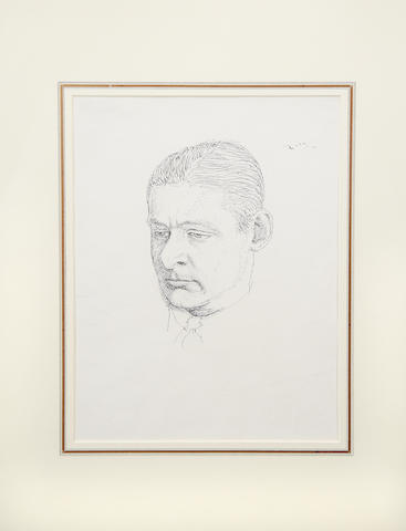 ELIOT (T.S.) Portrait of Eliot by Pwys Evans, pen and ink drawing, [c.1922]