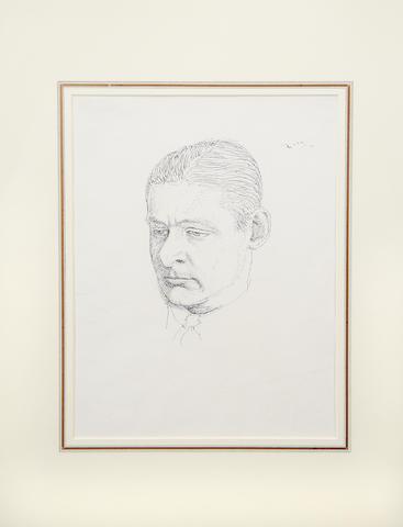 ELIOT (T.S.) Portrait of Eliot by Pwys Evans, pen and ink drawing, [c.1922]