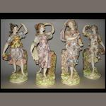 A set of four 19th century Dresden porcelain figures