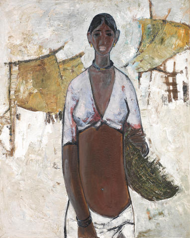 B. Prabha (India, 1933-2001) Untitled (Woman with Basket)