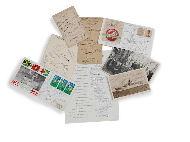 1900 to 1979 England v Australia M.C.C. touring party signatures