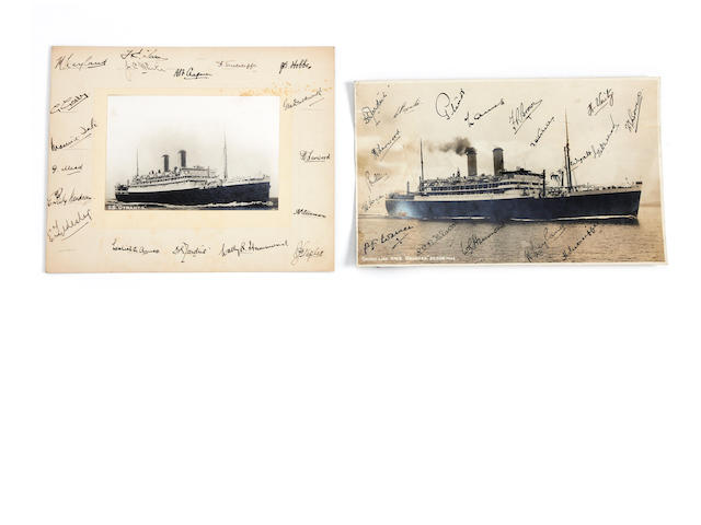 1928 and 1932 'Bodyline' Series M.C.C. touring party hand signed pictures