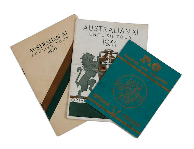 1930, 1934 and 1956 Australian cricket touring party hand signed souvenirs