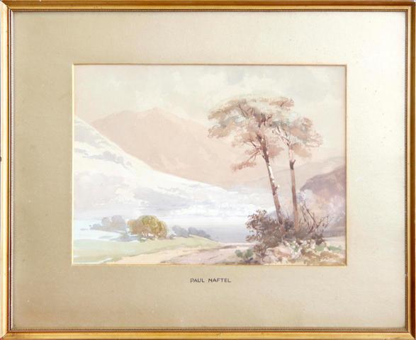 Follower of Paul Jacob Naftel (British, 1817-1891),   Loch in an extensive highland landscape