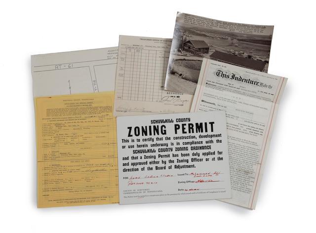 1974/1975 Muhammad Ali Deer Lake training park zoning permit, photograph, deed, ephemera