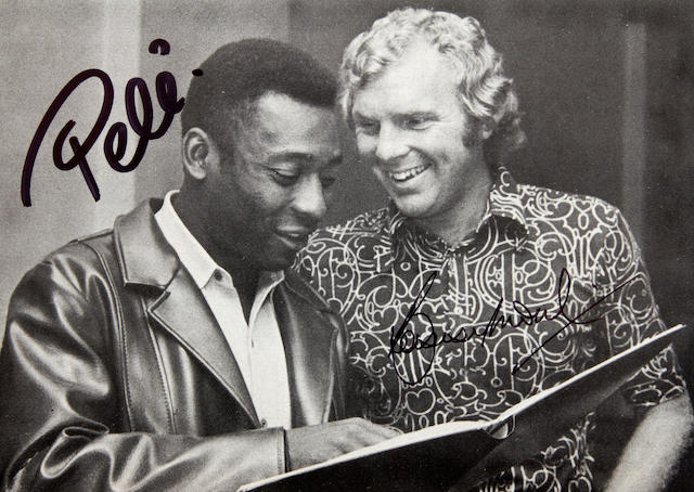 A Pele/Bobby Moore hand signed picture