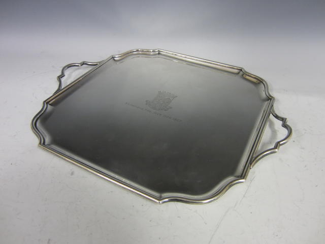 A silver square two handled tray,  Sheffield 1926,
