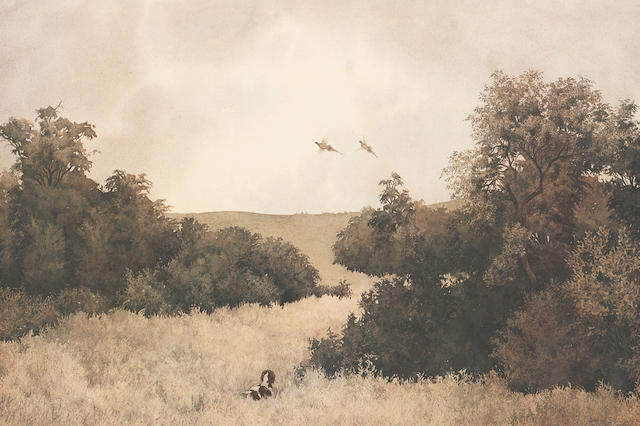 Jonathan Sainsbury Pheasants over a Spaniel